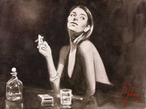 The Singer (Cigarette) by Fabian Perez - Original on Paper